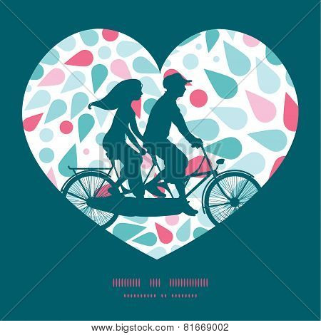 Vector abstract colorful drops couple on tandem bicycle heart silhouette frame pattern greeting card
