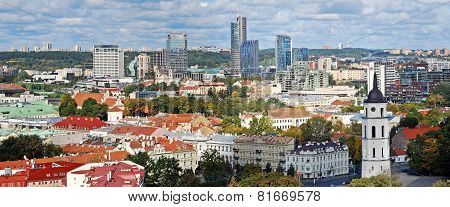 Vilnius City Aerial View From Vilnius University Tower