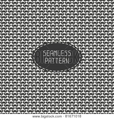 Vector hand drawn seamless fashion retro pattern, with curly vintage hipster gentleman mustache. Ill