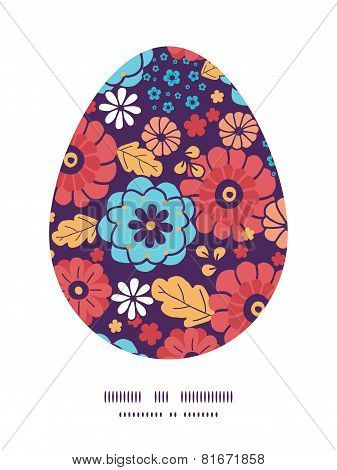 Vector colorful bouquet flowers Easter egg sillhouette frame card template