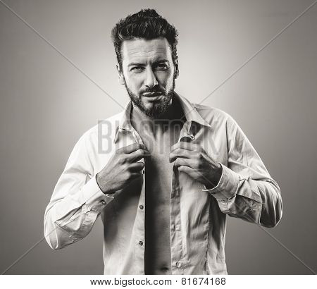 Attractive Man Getting Dressed