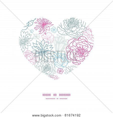 Vector gray and pink lineart florals heart silhouette pattern frame