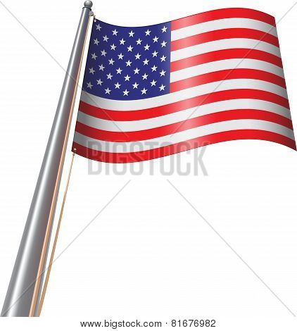 U. S. Flag On Pole