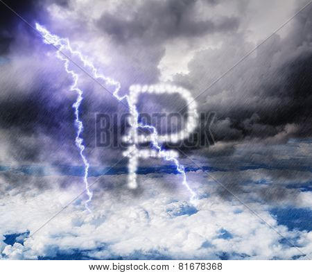 The Ruble Currency Symbol In The Stormy Skies With Lightning Strikes