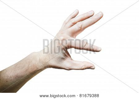 Men's Hand With A Stretched Index Finger And Thumb On White Background