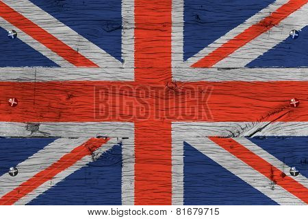 United Kingdom National Flag Painted Old Oak Wood Fastened