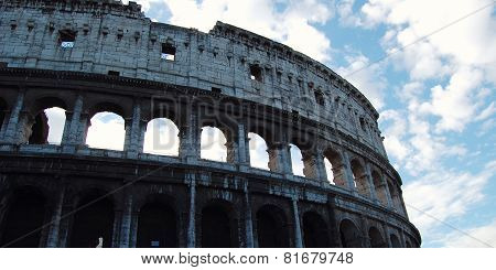 Colosseum In Rome On Sunset - Vintage Style. Ancient Amphitheater In Backlight.