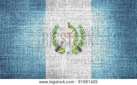 Guatemala flag on burlap fabric