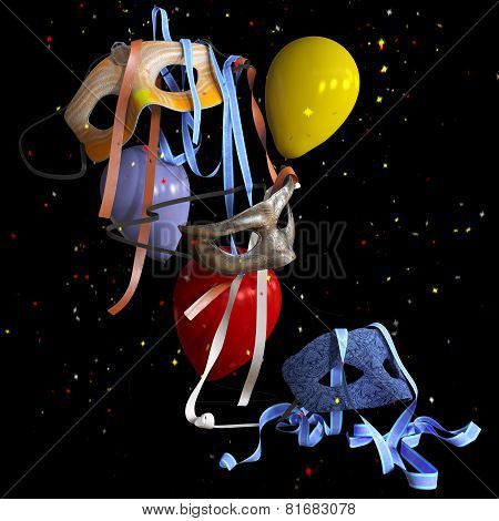 birthday and holiday decorative background with balloons and masks