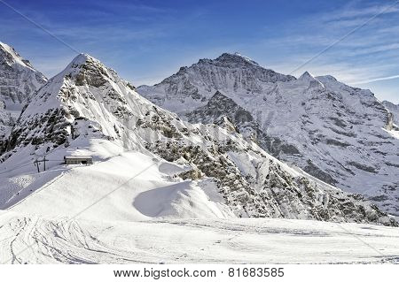 Jungfrau And Tschuggen Alpine Peaks