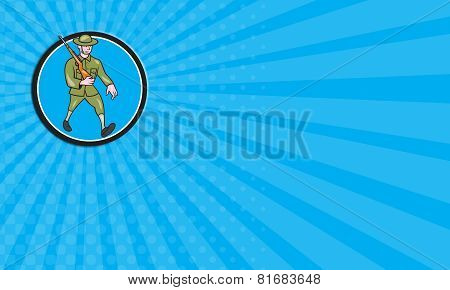 Business Card World War One Soldier British Marching Circle Cartoon