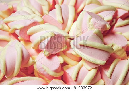 Pink And Yellow Marshmallow Background.