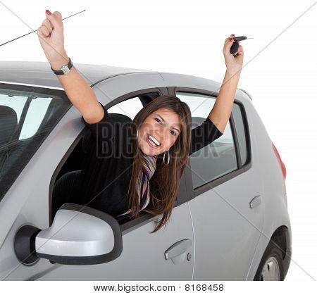 Happy Woman On A Car