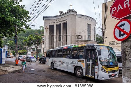 Rio De Janeiro, Brazil - November 28, 2014:The bus passing the street in front of the Church near th