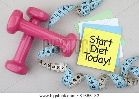 Start Diet Today / Motivational Losing Weight Phrase with Dumbbells and Measuring Tape