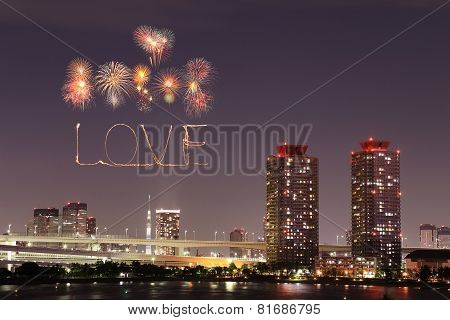 Love Sparkle Fireworks Celebrating Over Odaiba Japan