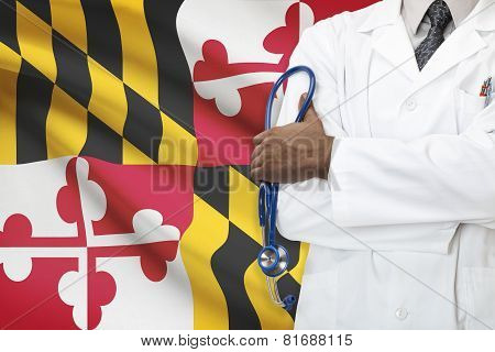 Concept Of National Healthcare System - Maryland flag on background