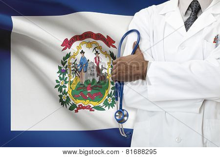 Concept Of National Healthcare System - West Virginia flag on background