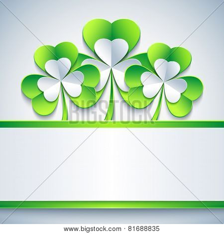 Patricks Day Card Grey With Leaf Clover And Paper