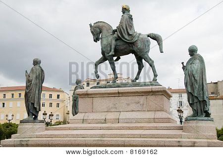 Statue Napoleon And His Brothers Diamant Square Ajaccio Corsica