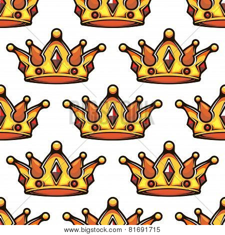 Cartoon emperor crowns seamless pattern