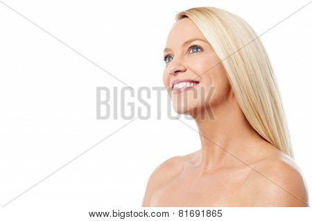 Topless Woman Looking Copy Space