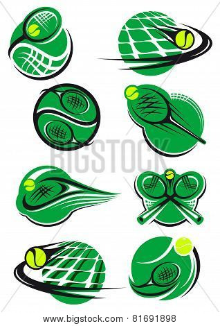 Tennis icons and symols with rackets balls, net
