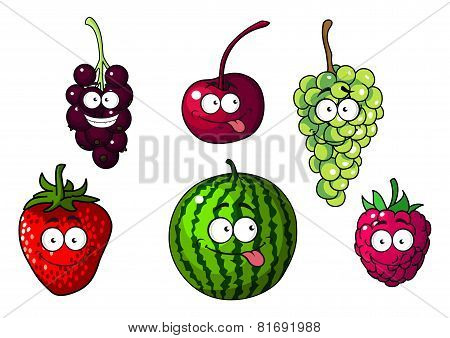 Cute happy colorful cartoon fruits and berries