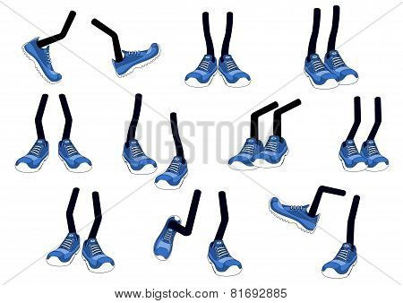 Cartoon vector walking feet in sneakers