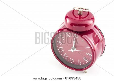 Red Old Style Alarm Clock Isolated On White