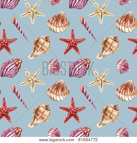 Seamless pattern with sea-shells. Watercolor illustration.