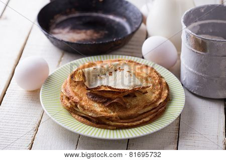 Pancakes And Ingredients For It
