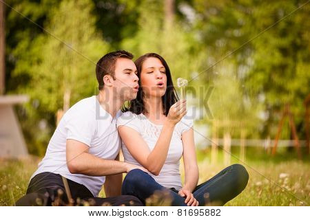 Happy life - couple blowing dandelions