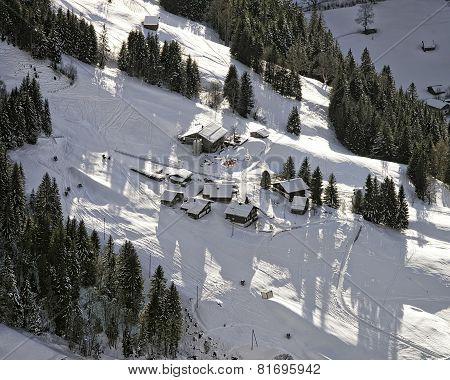 Swiss Alpine Slope Aerial View