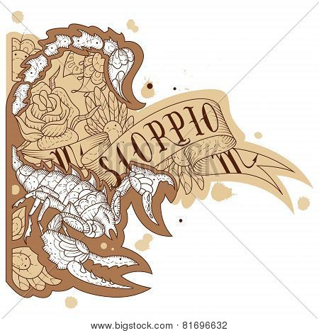 Engraving scorpion