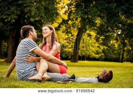 Young couple on date in nature