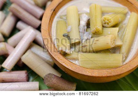 Lotus Stem With Steamed Mackerel In Coconut Soup ( Thai Food Name Kaeng Sai Bua)