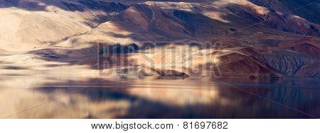 Tso Moriri Lake And Himalayas Mountains Magic Panorama
