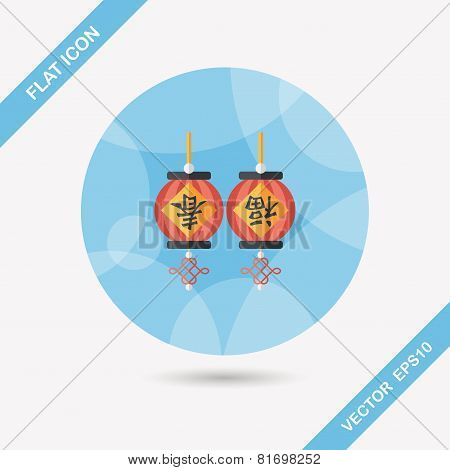 Chinese New Year Flat Icon With Long Shadow,eps10, Chinese Festival Couplets With Lantern Means