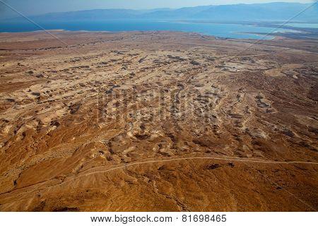Desert Landscape At Dead Sea At Sunset