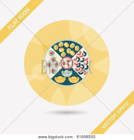 Chinese New Year Flat Icon With Long Shadow,eps10, Chinese Desserts Plate Include Nuts, Candies And