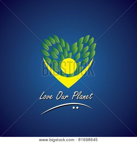 Person Loving Trees, Plants & Nature - Eco Concept Vector