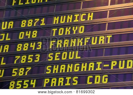 Departure Board At The Airport