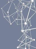 stock photo of plexus  - metallic nerve plexus model on gray background - JPG