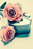 stock photo of priceless  - Close up of pink roses placed on a heart - JPG