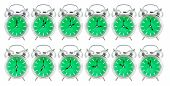picture of analog clock  - old analog clock with green face on white background 24 hours - JPG