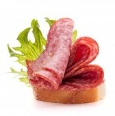picture of salami  - sandwich with salami sausage on white background  cutout - JPG