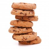 stock photo of cookie  - Chocolate homemade pastry cookies isolated on white background - JPG