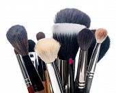 stock photo of cosmetic products  - Professional make-up brush cosmetic on white background ** Note: Shallow depth of field - JPG
