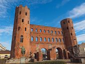 image of turin  - Palatine towers Porte Palatine ruins of ancient roman town gates in Turin - JPG